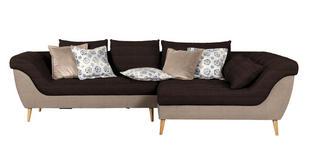 WOHNLANDSCHAFT in Textil Dunkelbraun, Hellbraun  - Hellbraun/Dunkelbraun, Design, Holz/Textil (313/175cm) - Carryhome