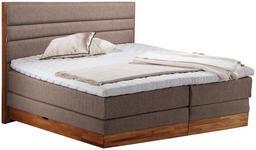 Boxspringbett Corona - Dunkelgrau/Eichefarben, KONVENTIONELL, Holz/Textil (180/200cm) - James Wood
