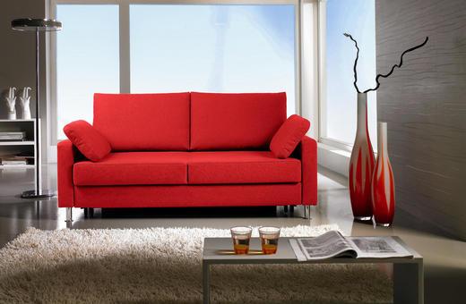 SCHLAFSOFA Flachgewebe Rot - Chromfarben/Rot, Design, Textil/Metall (166/90/95cm) - Bali