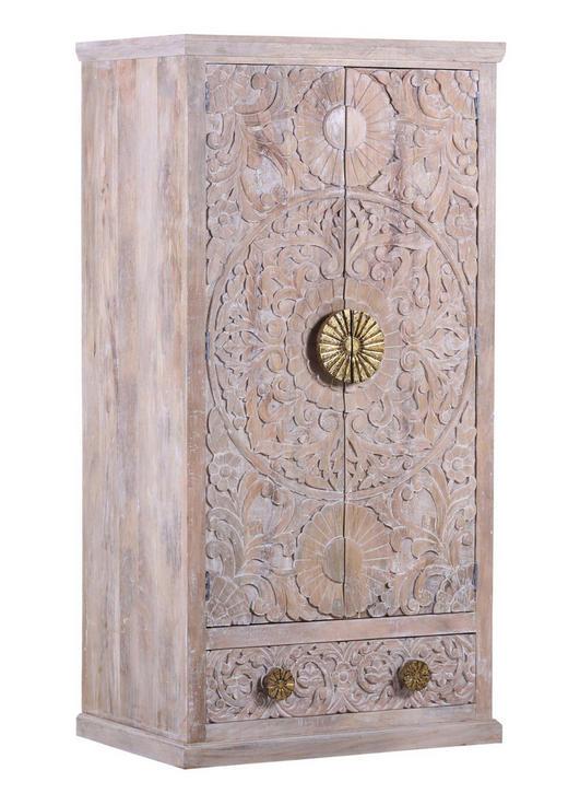 GARDEROBENSCHRANK Mangoholz massiv Weiß - Goldfarben/Weiß, Design, Holz (90/175/60cm)