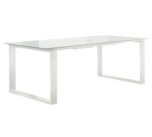ESSTISCH rechteckig Weiß  - Weiß, Design, Glas/Metall (140/100/75cm) - Now by Hülsta