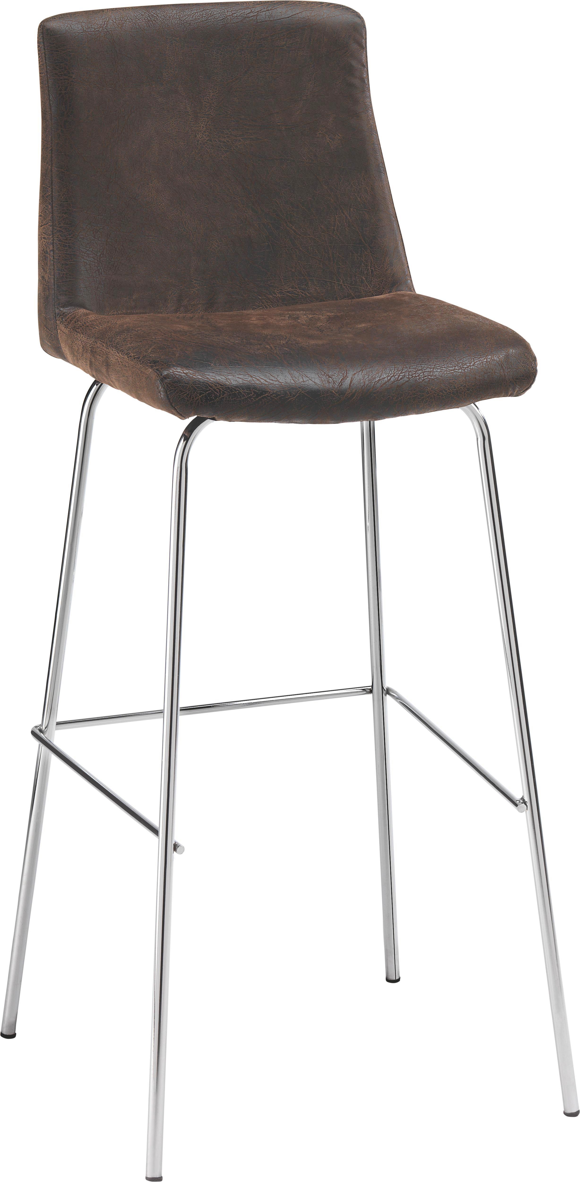 BARHOCKER in Metall, Textil Braun, Chromfarben - Chromfarben/Braun, Design, Textil/Metall (40/108/44cm) - CARRYHOME