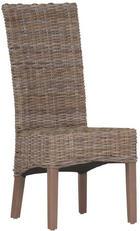 STUHL Rattan massiv Grau - Grau, Trend, Holz (46/104/51cm) - Ambia Home