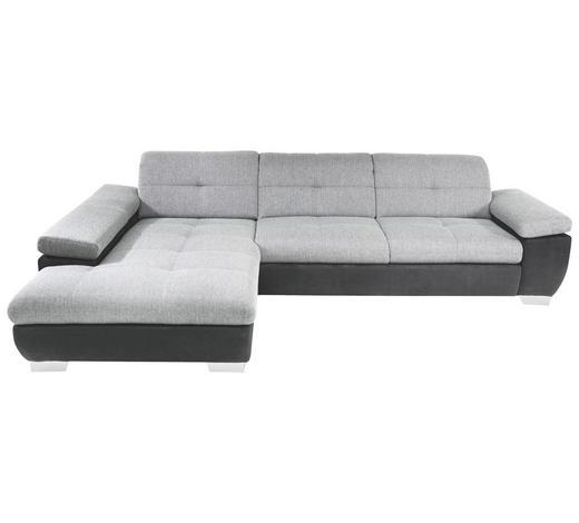 SJEDEĆA GARNITURA tekstil  siva, crna   - siva/boje kroma, Design, tekstil/metal (204/297cm) - Xora
