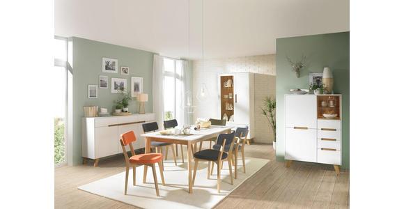 HIGHBOARD 95/136,5/41 cm - Eichefarben/Weiß, Design, Glas/Holz (95/136,5/41cm) - Hom`in