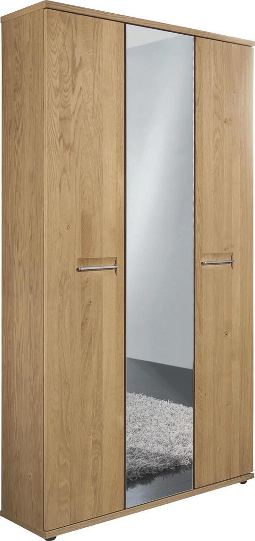 GARDEROBENSCHRANK Wildeiche teilmassiv lackiert Eichefarben - Edelstahlfarben/Eichefarben, Design, Holz/Metall (90/193/37cm)
