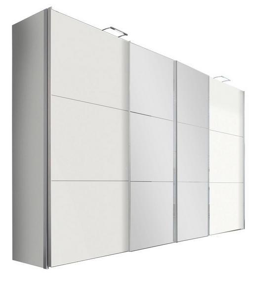 SCHWEBETÜRENSCHRANK in Weiß - Alufarben/Weiß, Design, Glas/Holzwerkstoff (350/236/68cm) - Hom`in