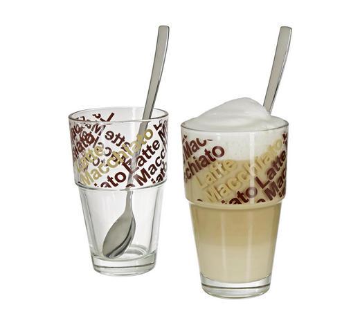 Lattee Macchiato Glas 4-teilig 400 ml - Klar/Multicolor, KONVENTIONELL, Glas (8.5/14/8.5cm) - Leonardo