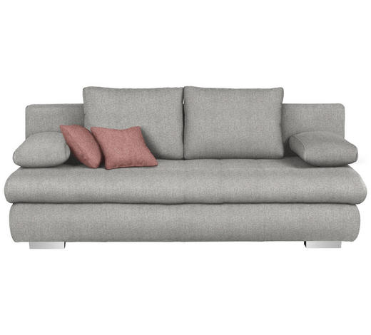 SCHLAFSOFA in Textil Hellgrau - Chromfarben/Rostfarben, Design, Kunststoff/Textil (205/88/96cm) - Ti`me