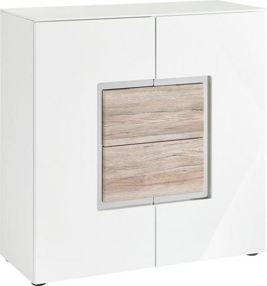 SIDEBOARD Hochglanz, matt Eichefarben, Weiß - Eichefarben/Schwarz, Design, Holzwerkstoff/Kunststoff (95/98/40cm) - Set one by Musterrin