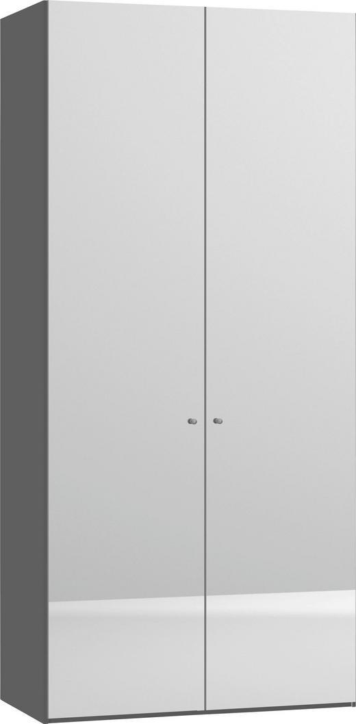 DREHTÜRENSCHRANK 2-türig Weiß - Silberfarben/Weiß, Design, Glas/Holzwerkstoff (101,9/220/59cm) - Jutzler