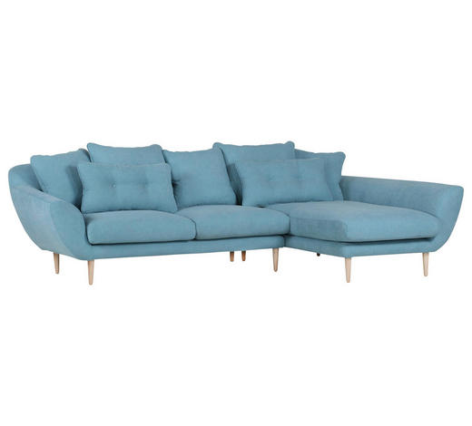 Ecksofa Hellblau Flachgewebe - Naturfarben/Hellblau, Design, Holz/Textil (293/188cm) - Carryhome