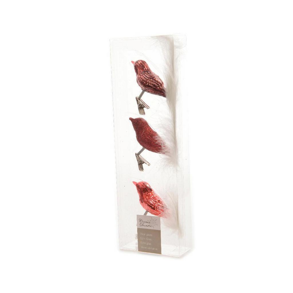 XXXL Dekovogel 3er Set, Rot   Dekoration > Figuren und Skulpturen > Tiere   Glas   XXXL Shop