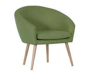 FOTELJ  zelena tekstil - naravna/zelena, Design, tekstil (73/73/43/66cm) - Carryhome