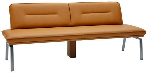 SITZBANK Echtleder Dunkelgelb, Edelstahlfarben - Edelstahlfarben/Dunkelgelb, Design, Leder/Metall (210cm) - Dieter Knoll