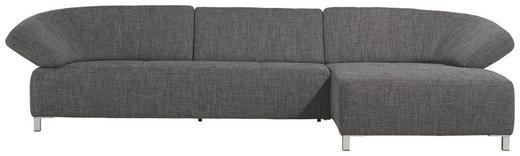 WOHNLANDSCHAFT Flachgewebe - Chromfarben/Dunkelgrau, Design, Textil/Metall (329/162cm) - Ewald Schillig Brand