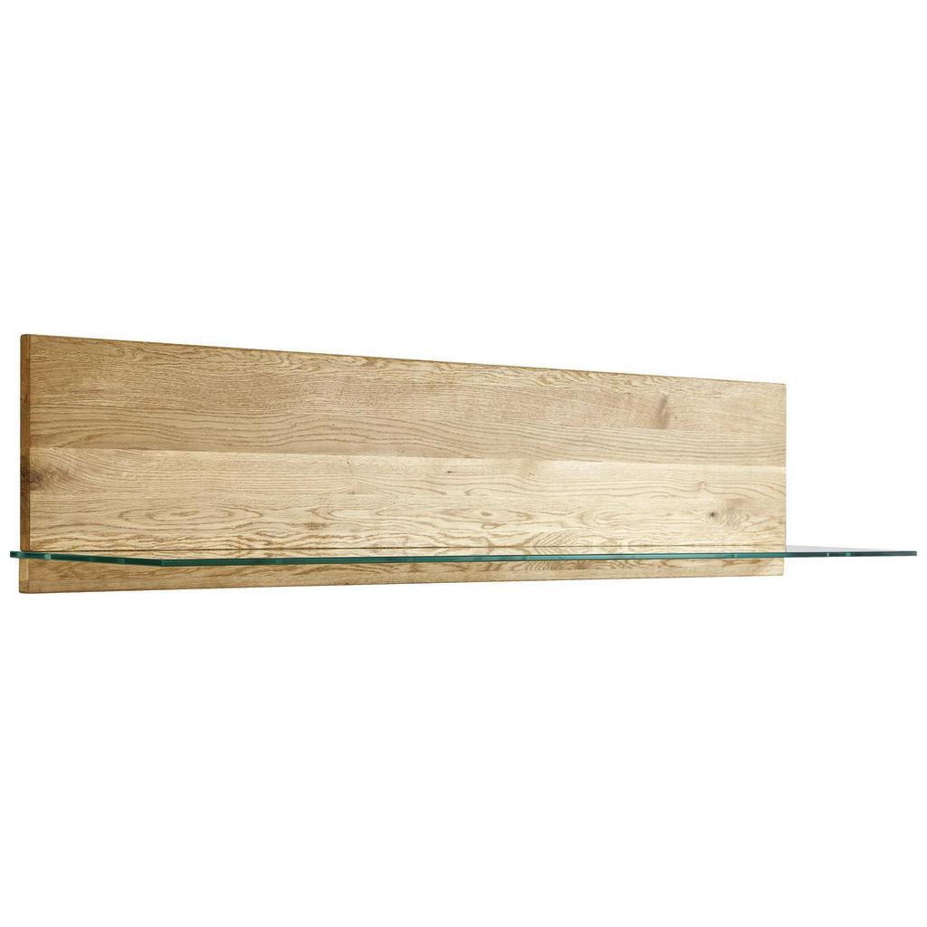Livetastic Wandboard , Eiche , Holz, Glas , Wildeiche , massiv , 150x27x30 cm , Arbeitszimmer, Büroregale, Wandregale
