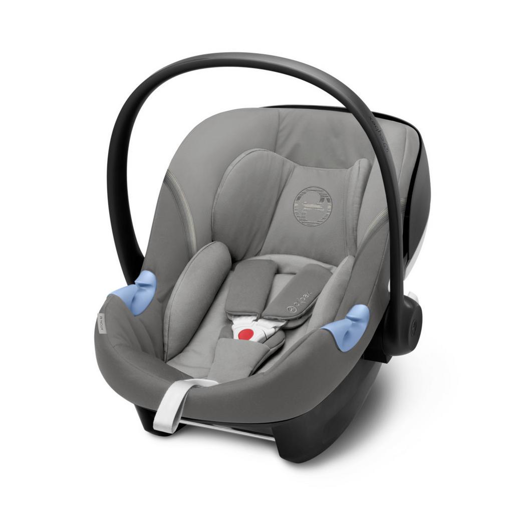 Image of Cybex Babyschale , Aton M I-Size , Grau , Textil , 44.0x39.0-56.5 cm , Mikrofaser , abnehmbarer und waschbarer Bezug, ergonomischer Tragebügel, Flugzeugzulassung, Gurtlängenverstellung, höhenverstellbare Kopfstütze, Sonnendach, integriertes Gurtsystem, op
