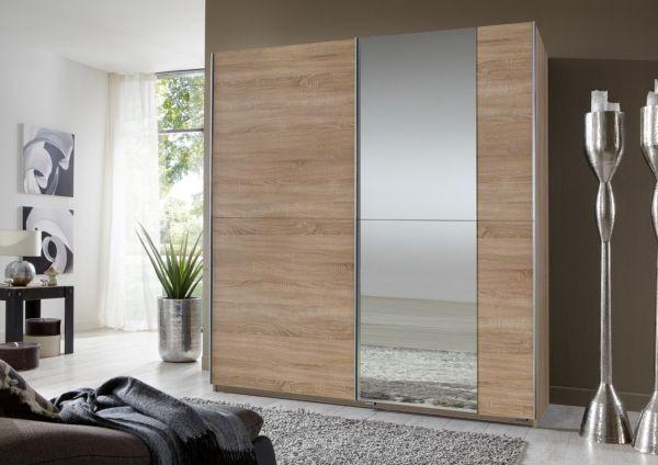 ORMAR S KLIZNIM VRATIMA - boje hrasta/boje aluminija, Design, drvni materijal (180/198/64cm) - XORA