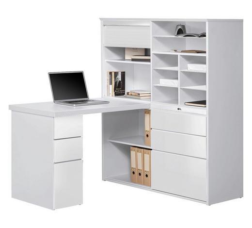 MINI-OFFICE Schreibtisch seitenverkehrt montierbar Weiß - Weiß, KONVENTIONELL, Glas (126,6/150/187cm)