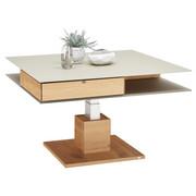 KONFERENČNÍ STOLEK - barvy dubu/jílová barva, Design, dřevo/sklo (90/90/35,5cm) - Voglauer
