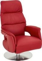 RELAXAČNÍ KŘESLO - barvy nerez oceli/červená, Design, kov/kůže (72/110/79cm) - Welnova
