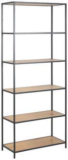 REGAL - boje hrasta/crna, Trend, drvni materijal/metal (77/185/35cm) - Carryhome