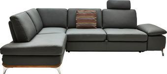 WOHNLANDSCHAFT - Dunkelgrau/Alufarben, Design, Leder/Metall (213/283cm)