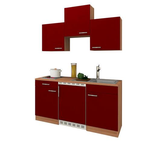 MINIKÜCHE E-Geräte, Spüle   - Eichefarben/Rot, KONVENTIONELL (150/200/60cm) - Bessagi Home