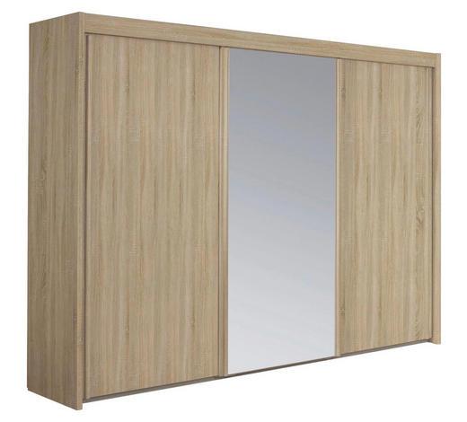SCHWEBETÜRENSCHRANK in Sonoma Eiche  - Sonoma Eiche, Basics, Glas/Holzwerkstoff (280/235/65cm) - Cantus