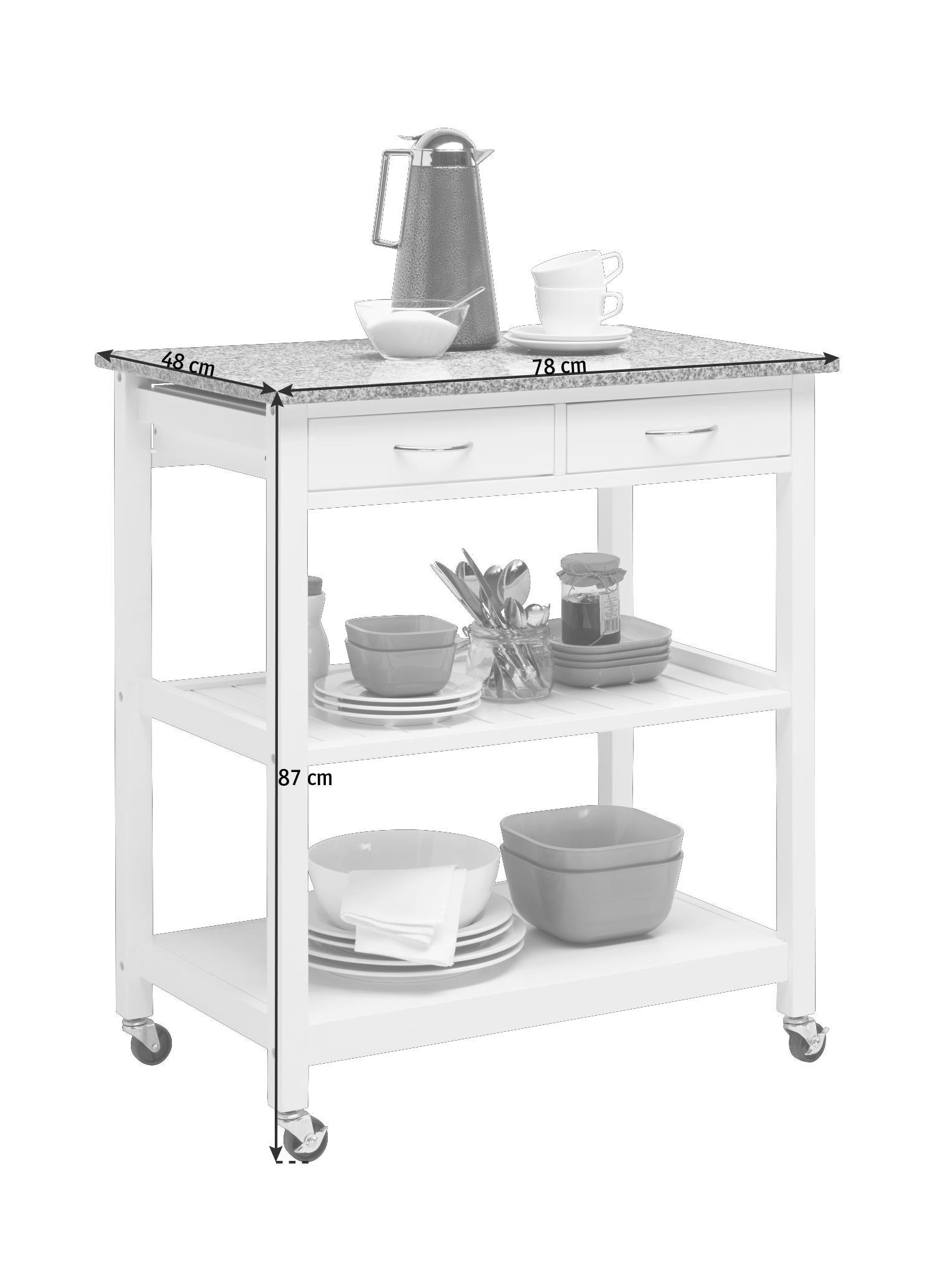 SERVERINGSVAGN - vit/grå, Design, träbaserade material/sten (78/87/48cm) - Xora