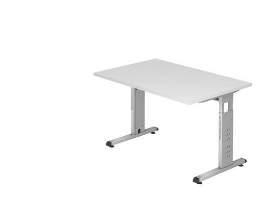 SCHREIBTISCH - Silberfarben/Weiß, KONVENTIONELL, Holzwerkstoff/Metall (120/65-85/80cm)