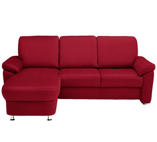 WOHNLANDSCHAFT in Textil Rot - Chromfarben/Rot, KONVENTIONELL, Textil/Metall (163/220cm) - Beldomo System