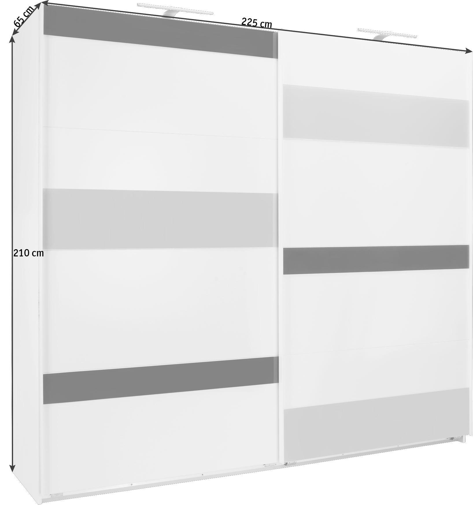 ORMAR S KLIZNIM VRATIMA - bijela/siva, Design, staklo/drvni materijal (225/210/65cm) - CARRYHOME