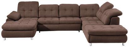 WOHNLANDSCHAFT in Braun Textil - Chromfarben/Braun, Design, Kunststoff/Textil (190/354/260cm) - Hom`in