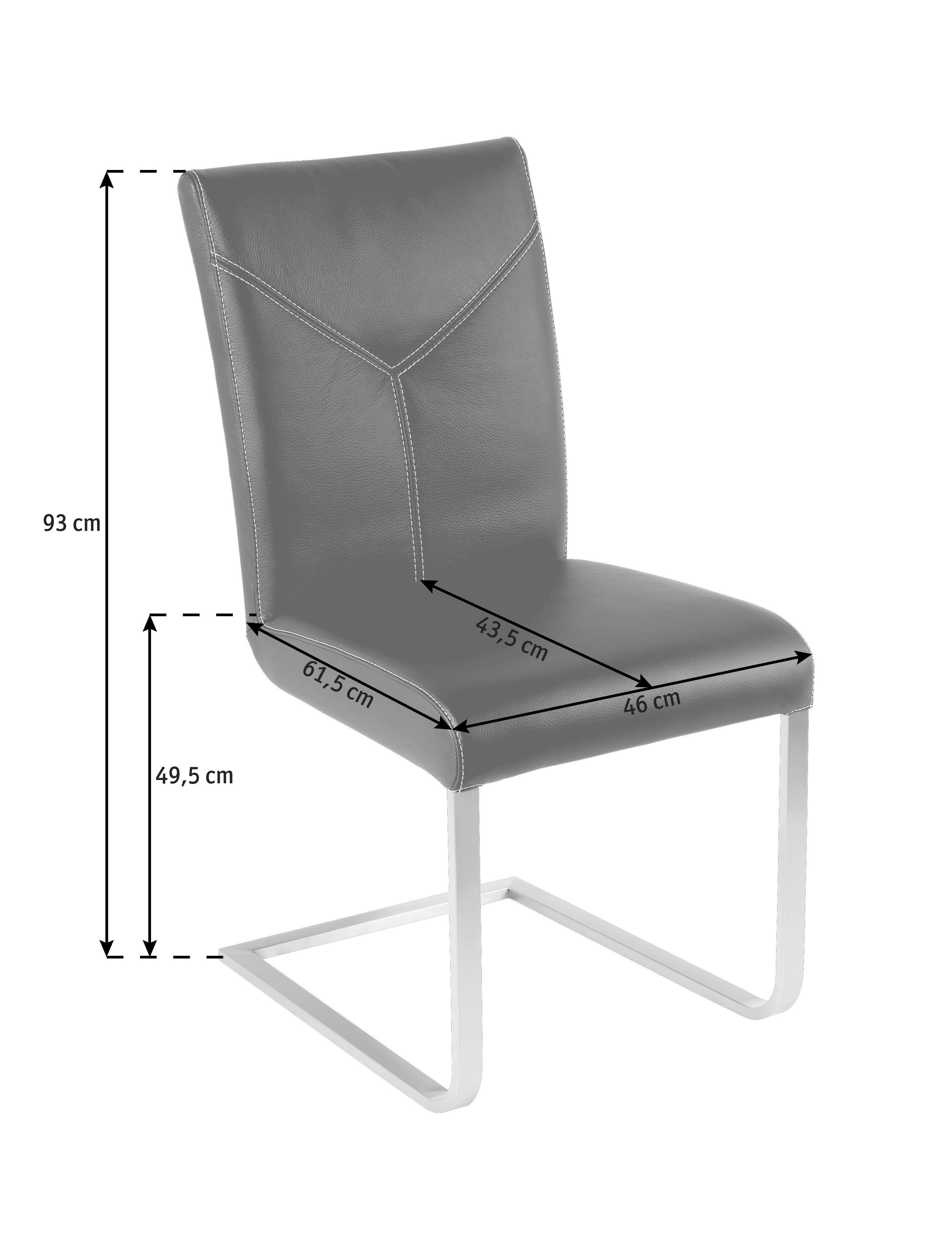 SCHWINGSTUHL Echtleder Dunkelbraun, Edelstahlfarben - Edelstahlfarben/Beige, Design, Leder/Metall (46/93/61,5cm) - NOVEL