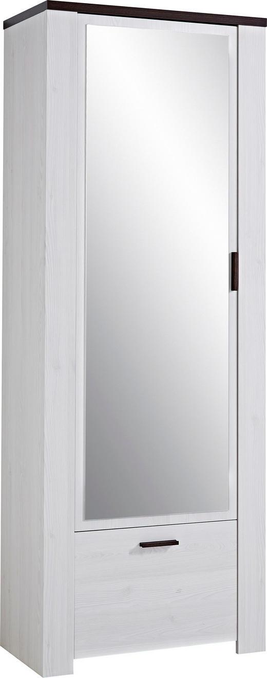 GARDEROBENSCHRANK Lärchefarben, Weiß - Eichefarben/Lärchefarben, Design, Glas/Holz (74/199/40cm) - Carryhome