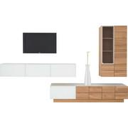 WOHNWAND Wildeiche massiv, mehrschichtige Massivholzplatte (Tischlerplatte) Eichefarben  - Eichefarben, Design, Glas/Holz (320/186/55.2cm) - Voglauer