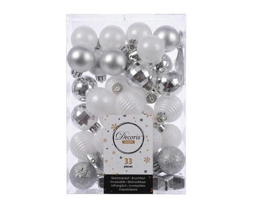 CHRISTBAUMKUGEL-SET  33-teilig Silberfarben, Weiß - Silberfarben/Weiß, Kunststoff (3cm)