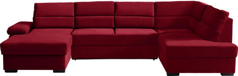 WOHNLANDSCHAFT in Textil Rot - Dunkelbraun/Rot, KONVENTIONELL, Kunststoff/Textil (166/319/183cm) - Cantus