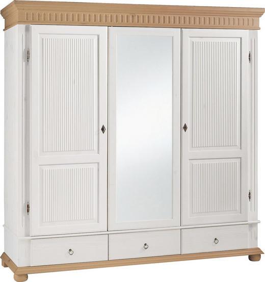 KLEIDERSCHRANK 3-türig Kiefer massiv Kieferfarben, Weiß - Weiß/Kieferfarben, Design, Holz/Metall (195/199/62cm) - Carryhome