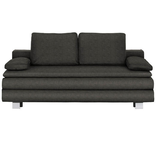 BOXSPRINGSOFA in Textil Dunkelgrau  - Chromfarben/Dunkelgrau, Design, Textil/Metall (204/95/100cm)