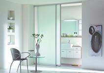 SCHIEBETÜR Glas, Metall - Silberfarben, KONVENTIONELL, Glas/Metall (77/235/3,4cm) - Novel