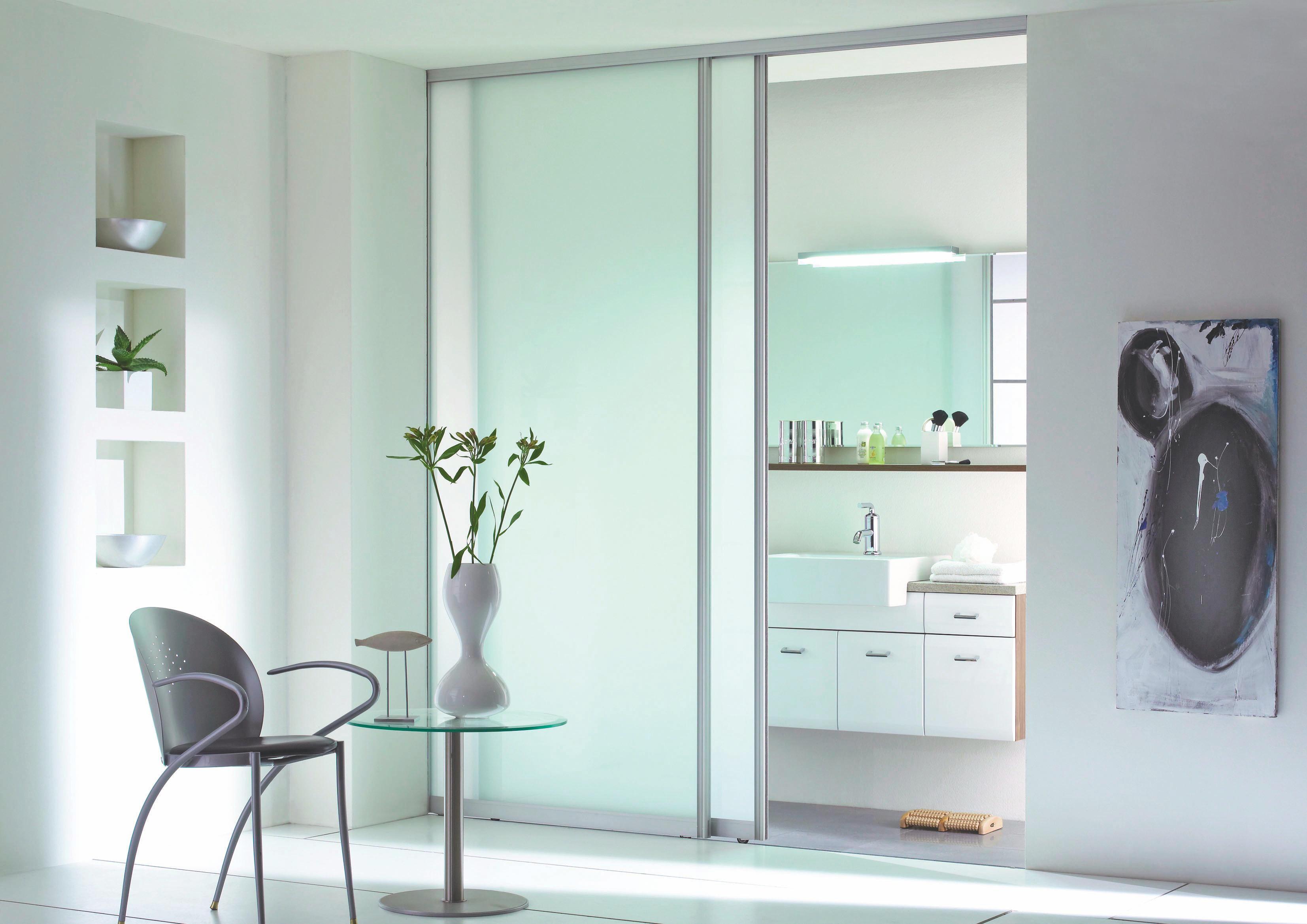 SCHIEBETÜR Glas, Metall   Silberfarben, KONVENTIONELL, Glas/Metall (77/235