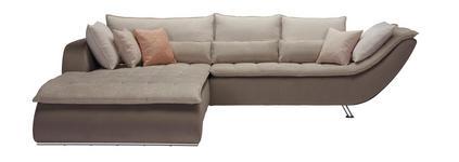 WOHNLANDSCHAFT in Textil Taupe, Beige  - Taupe/Sandfarben, Design, Textil/Metall (220/300cm) - Hom`in