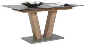 ESSTISCH in Holzwerkstoff, Kunststoff 140(180)/90/77 cm - Eichefarben/Graphitfarben, KONVENTIONELL, Holzwerkstoff/Kunststoff (140(180)/90/77cm) - Voleo