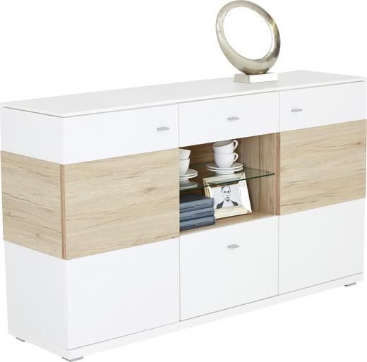 SIDEBOARD Eichefarben, Weiß - Eichefarben/Weiß, Design, Holzwerkstoff/Metall (165/94/42cm) - VALDERA