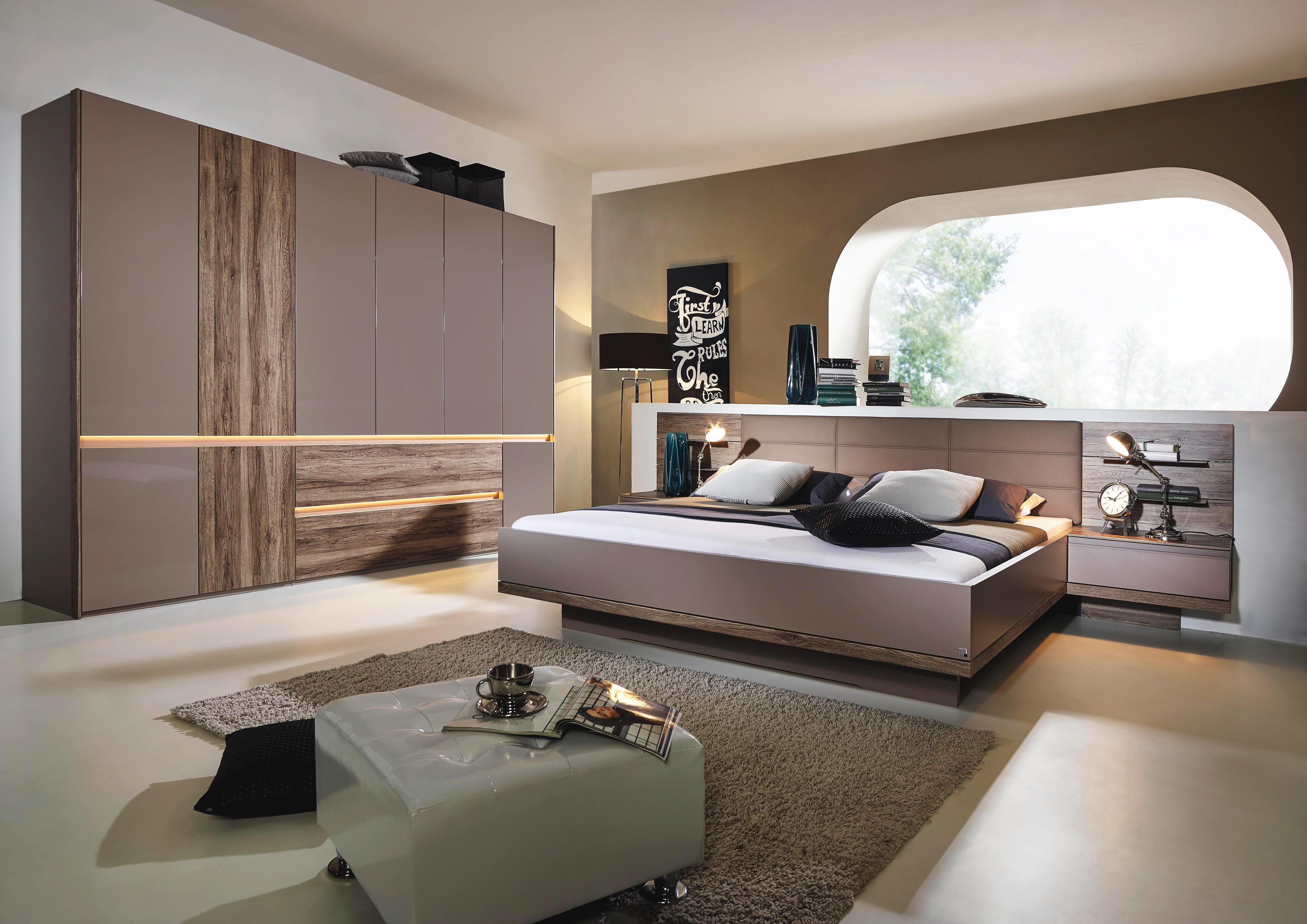 SCHLAFZIMMER In Eichefarben, Fango   Fango/Eichefarben, Design,  Holzwerkstoff/Textil (