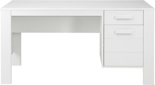 SCHREIBTISCH Kiefer massiv Weiß - Weiß, Design, Holz (140/74/59cm) - Carryhome