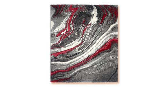 Webteppich Rot/Grau Line 80x150 cm - Rot, Basics, Textil (80/150cm) - Ombra